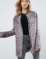 Pepe Jeans Waver Leopard Print Collarless Coat - Brown