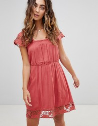 Pepe Jeans Wendy Lace Hems Dress - Red