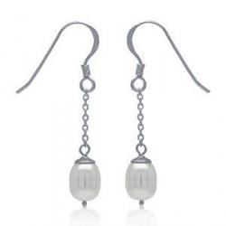 Perleøreringe med hvid ferskvandsperle - 34mm - pr par