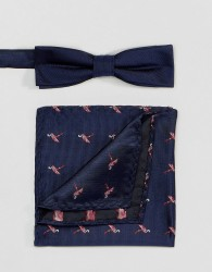 Peter Werth Bow Tie And Pocket Square Set - Blue
