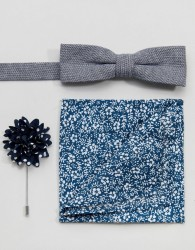 Peter Werth Bow Tie Pocket square & Boutoninere - Blue