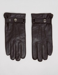 Peter Werth Classic Leather Gloves In Brown - Black