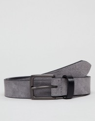 Peter Werth Grey Suede Belt With Contrast Keeper - Grey