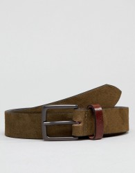 Peter Werth Khaki Suede Belt With Contrast Keeper - Brown