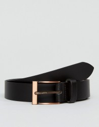 Peter Werth Leather Belt In Black With Rose Buckle - Black