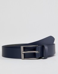 Peter Werth Leather Belt In Navy With Nickle Buckle - Blue