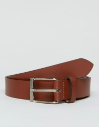 Peter Werth Leather Belt In Tan With Nickle Buckle - Black