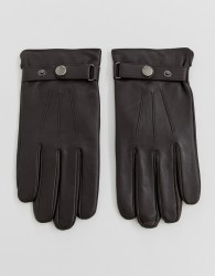Peter Werth leather gloves with popper in brown - Brown