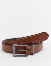 Peter Werth leather skinny leather belt in brown - Tan