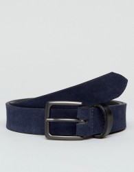 Peter Werth Navy Suede Belt With Contrast Keeper - Tan