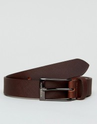 Peter Werth Saffiano Leather Belt In Brown - Black
