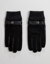 Peter Werth Shearling Leather Gloves In Black - Black