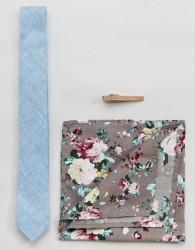 Peter Werth Skinny Tie Pocket Square & Tie bar - Blue