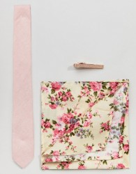 Peter Werth Skinny Tie Pocket Square & Tie bar - Pink