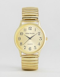 Philip Mercier Gold Bracelet Watch With Gold Dial - Gold