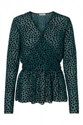 Pieces - Bluse - PC Aluna LS Top - Deep Teal/Spot
