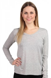 Pieces - Bluse - PC Billo LS Tee Solid - Light Grey Melange