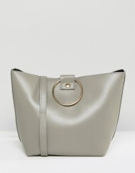 Pieces Bucket Bag With Ring Handles - Grey