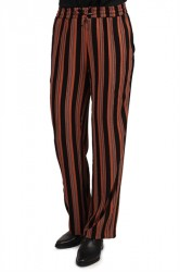 Pieces - Bukser - PC Libby Wide Pants - Copper Brown Stripe