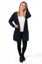 Pieces - Cardigan - PC Renee LS Long Wool Cardigan - Navy Blazer