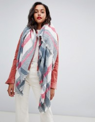 Pieces Check Herringbone Square Scarf - Multi