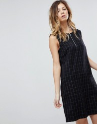 Pieces Check Shift Dress With Zip - Navy