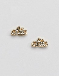 Pieces Chic Stud Earrings - Gold