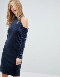 Pieces Cold Shoulder Glitter Velvet Mini Dress - Navy