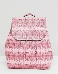 Pieces Coloured Snake Print Backpack - Pink
