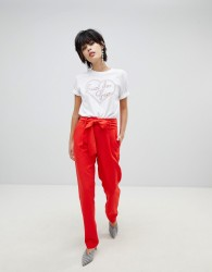 Pieces Coloured Trouser - Red