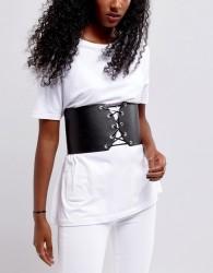 Pieces Corset Belt - Black