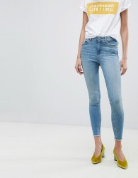 Pieces Cropped Mid Rise Skinny Jean - Blue