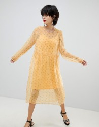 Pieces Ditsy Floral Dress - Yellow