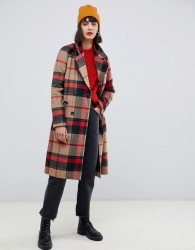 Pieces double breasted check coat - Multi