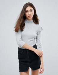 Pieces Ea Frill Shoulder Turtleneck Top - Grey