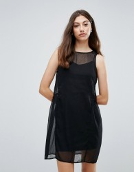 Pieces Eila Mesh Overlay Dress - Black