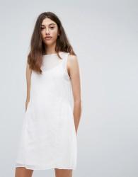 Pieces Eila Mesh Overlay Dress - White