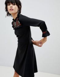 Pieces Embroidred Skater Dress - Black