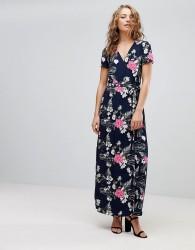 Pieces Emi Floral Print Maxi Wrap Dress - Navy