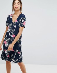 Pieces Enna Ditsy Floral Print Drop Waist Dress - Navy