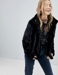 Pieces Faux Fur Jacket - Black