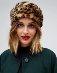 Pieces Faux Fur Leopard Headband - Brown