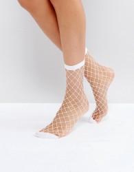 Pieces Fishnet Socks - White