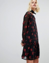 Pieces Floral Mesh Dress With Ruffle Hem - Black