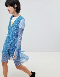 Pieces Floral Print Wrap Dress - Blue