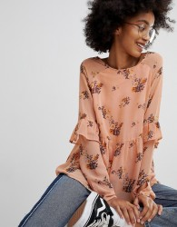Pieces Floral Ruffle Top - Pink