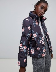 Pieces Flower Print Padded Coat - Multi