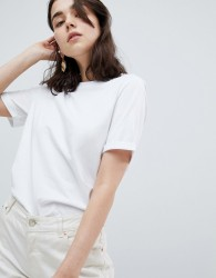 Pieces Folded Sleeve T-Shirt - White