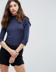 Pieces Frill Shoulder Turtleneck Top - Navy