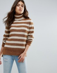 Pieces Hella Striped Rollneck Mohair Wool Blend Knit Jumper - Brown
